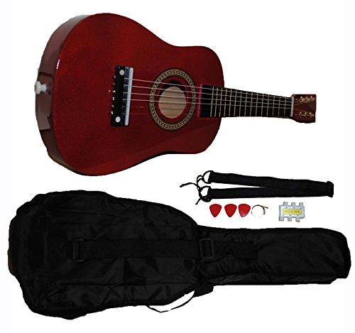 Mini Kids Acoustic Toy Guitar Kit Gig Bag + Picks + Strap + Tuner - Glitter Red by Shop4Omni
