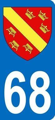 Blason Alsace Sticker moto immatriculation 68