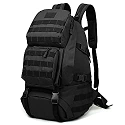 Huntvp Military Tactical Backpack Rucksack Gear Assault Pack Student School Bag, Black