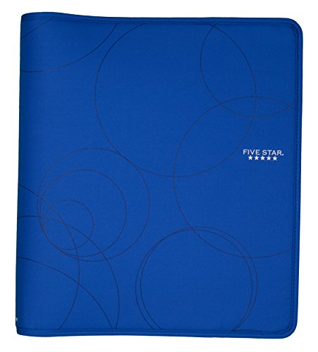 Five Star Zipper Binder, 1.5-Inch Capacity, 13.62 x 12.12 x 2.38 Inches, Cobalt Blue with Circles (72378)