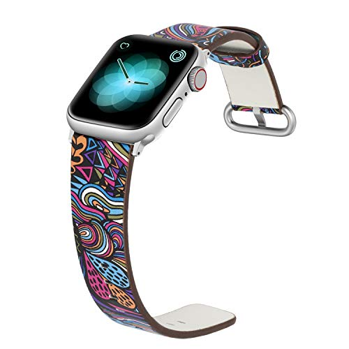 YOUKEX Floral Band Compatible with Apple Watch 42mm 44mm Women, Leather Flower Printed Design Replacement Wristband for iWatch Series 4/3/2/1 ()