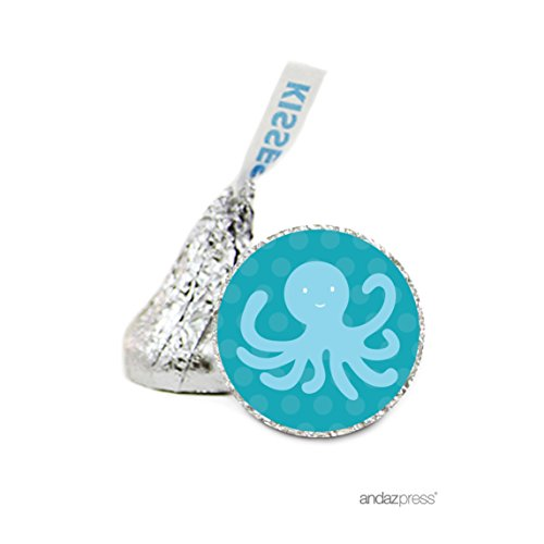 Andaz Press Chocolate Drop Labels Stickers, Birthday, Octopus, 216-Pack, for Nautical Ocean Sailing Hershey's Kisses Party Favors, Gifts, Decorations -
