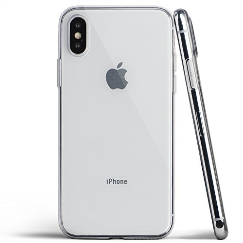 totallee Clear Thin iPhone X Case, Thinnest Soft Cover Slim Flexible TPU - for Apple iPhone X (2017) (Transparent)