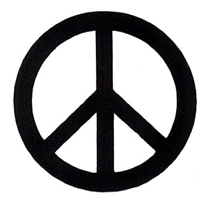 Black over white peace sign small magnetic bumper sticker decal magnet 2 5