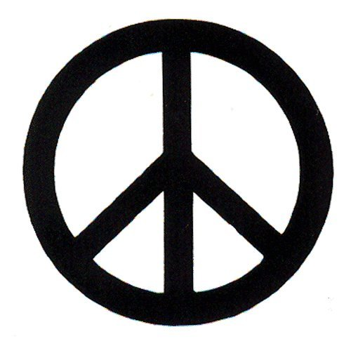 """Peace Resource Project Black Over White Peace Sign - Small Magnetic Bumper Sticker/Decal Magnet (3"""" x 3"""")"""