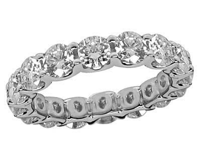 2.50 Ct Round Cut Diamond Eternity Wedding Band. Comfort Fit Ring in 14 kt White Gold in Size 8