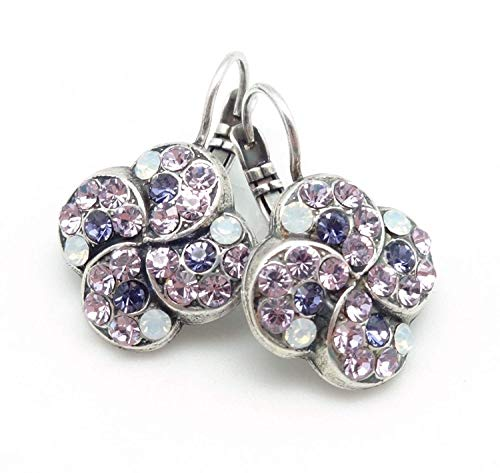 Mariana 1062 Purple Rain Violet & White Opalescent Clover Swarovski Silver Plated Earrings