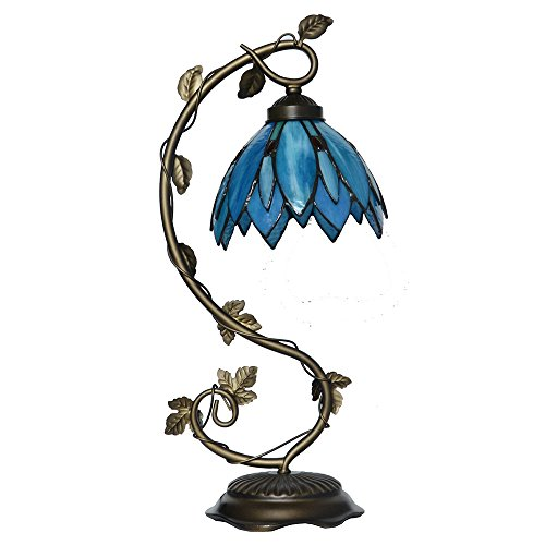Stained Glass Lotus - Tiffany Style Stained Glass Lotus Flower Table Lamp Accent Light with Flexible Arm