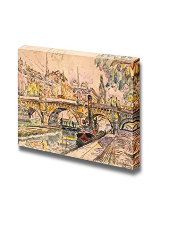 wall26 - Tugboat at The Pont Neuf, Paris by Paul Signac - Canvas Print Wall Art Famous Painting Reproduction - 16