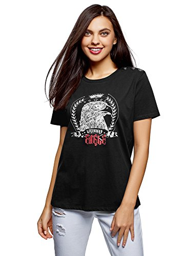 Ultra 2910p Straight donna decorativi Oodji neri strass con e shirt bottoni T UxPBnwtB