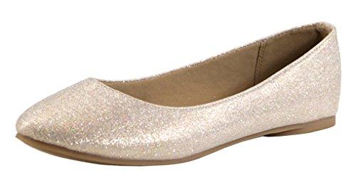 Bella Marie Womens Classic Slip-On Closed Round Toe Ballet Flat Champagne dim9Fiz