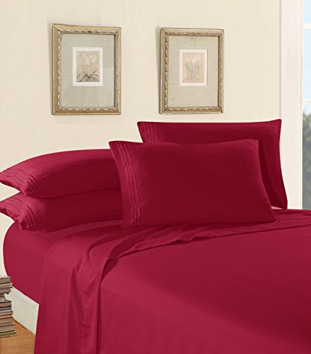Luxury Bed Sheet Set on Amazon! Elegant Comfort Three-Line Design 1500 Thread Count Egyptian Quality Wrinkle and Fade Resistant 4-Piece Bed Sheet set, Deep Pocket, Queen, Burgundy