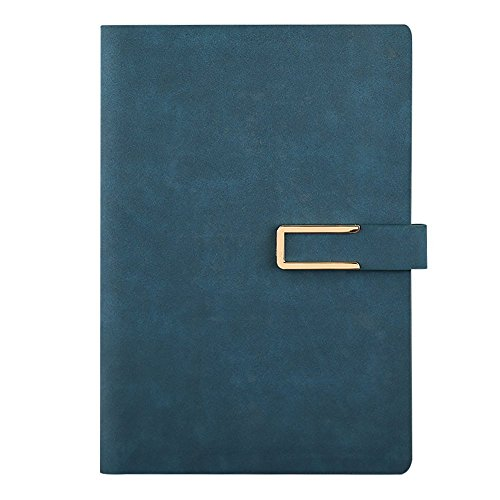 Jia Hu A5 PU Leather Notebook Binder Rings Journal Notepad Diary with Pen holder 160Pages Dark Blue by Jia Hu