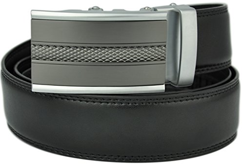 Hampton Leather Belt with Innovative Contempo Magnum Ratchet Belt Buckle - One Size Fit, Astro Black - Strips Magnum
