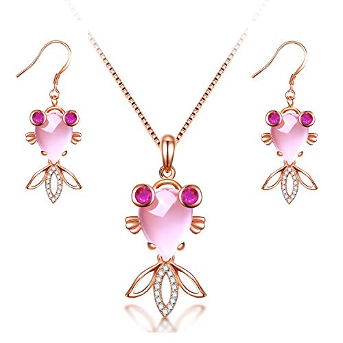 (Uloveido Simulated Pink Jade Stone Crystal Rose Gold Plated Cute Goldfish Fish Pendant Necklace Fashion Jewelry for Girls Women DN236 (Necklace and Earrings))