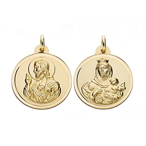 Médaille pendentif 22mm 18k Scapulaire d'or. Carmen Vierge et du Christ [AA0566]