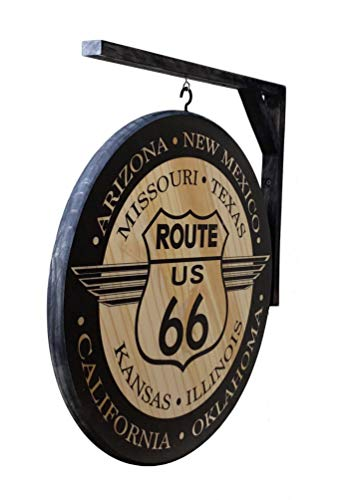(US Route 66 Sign - Large 18 inch Double Sided Vintage Design and Includes Hanging Bracket Inluded)