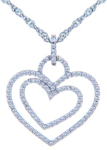 Petits Merveilles D'amour - 14 ct Or 585/1000 Valentines Diamants Cœur spécial - or blanc-Cœur-Pendentif doubles Diamants AVEC