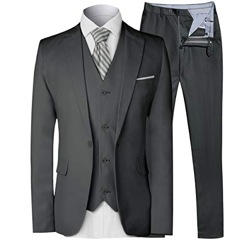 MAGE MALE Men's 3 Pieces Suit Elegant Solid One Button Slim Fit Single Breasted Party Blazer Vest Pants Set,Dark Grey,Medium