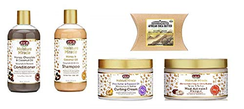 African Pride Hair Care - African Pride Moisture Miracle Hair Care (4pcsCOMBO-HEAT-MASQUE&SHAMPOO&CONDITIONER&CURLING-CREAM&SHEA-BUTTER)