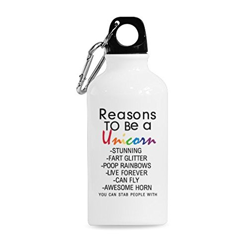 InterestPrint Reasons to Be A Unicorn Quotes 13.5oz Funny Aluminum Travel Sports Water Bottle Mug Cup, Unique Birthday Gift for Men Women Mom Dad Husband Wife Girl Boy Friends Lover