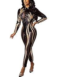 2_Floral Gold Sequin & Black Mesh Long Sleeve Jumpsuit