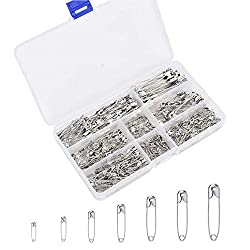 460 PCS Safety Pins, Premium Safety Pins Metal Silver Sewing Pins Set Durable Assorted 7 Sizes 19mm - 54mm for Home…