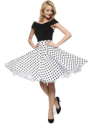 Maggie Tang 1950s Vintage Retro Polka Dots Swing Rockabilly Casual Skirt WB -