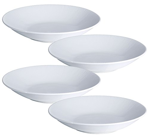 Y YHY 30 Ounces Porcelain Pasta Salad Bowls, 9.6 Inches White Serving Bowls Set, Wide and Shallow, Set of 4, Stripe Pattern ()