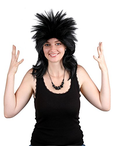 80s Rocker Wig - Choose from 2 Styles - #1 80s Rock Star Costume Wig (Black Spiky (Good Halloween Costumes For Blondes)