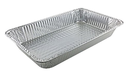 Full-Size Foil Pans 3 3/8'' Deep 50 Pack - Disposable Steam Trays (Double Boxed) by Osislon Series