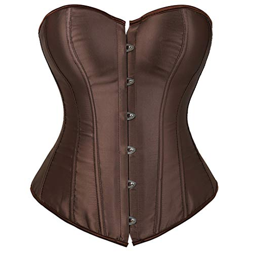 Kranchungel Women's Bustier Corset Sexy Satin Brocade Overbust Waist Cincher Shapewear Top Small Brown