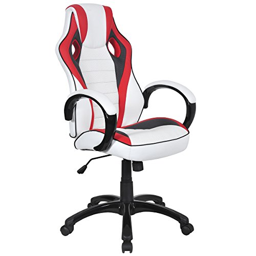 Giantex Executive Racing Style Chair High Back Office Chair Bucket Seat Computer Desk Task (White&Red&Black)