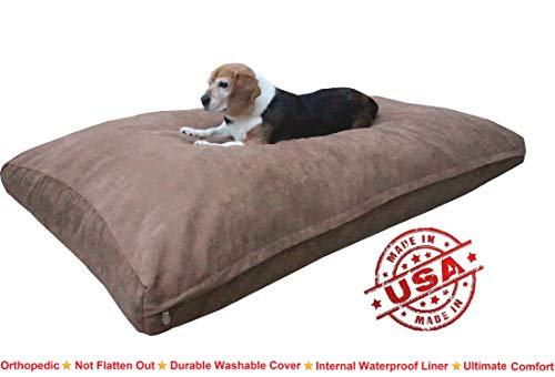 Dogbed4less XXL Orthopedic Extreme Comfort Memory Foam Dog Beds for Large Dog, Waterproof Lining and Machine Washable Cover, 55X37 Pillow, Brown