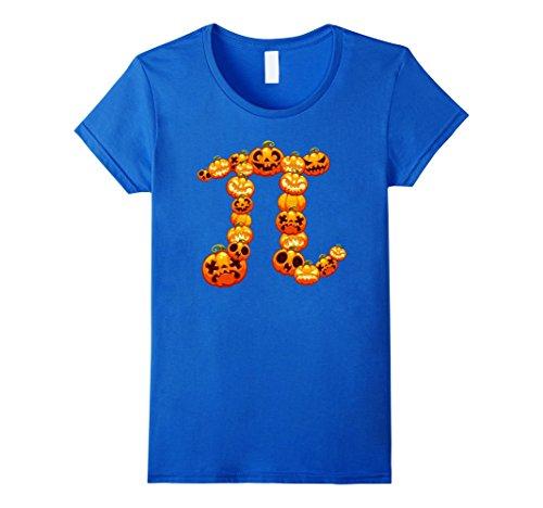 Womens Halloween Pumpkin Pi Shirt | Funny Math Costume Gift Idea Large Royal (Math Halloween Costume Ideas)