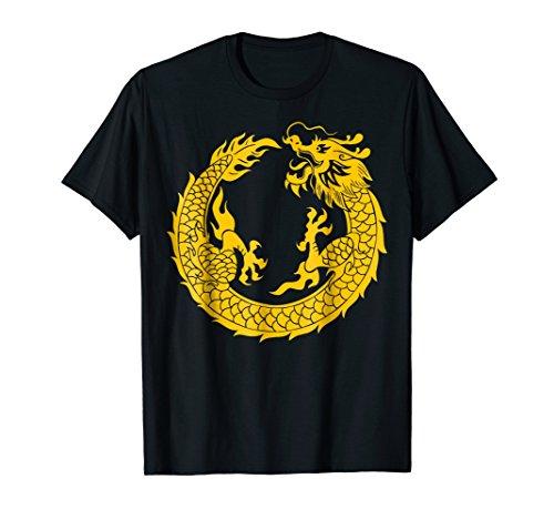 (Golden Chinese Dragon Tee China Cultural T-Shirt tee top)