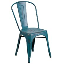 Flash Furniture Distressed Kelly Metal Indoor Stackable Chair, Blue