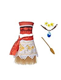ROMASA Moana Girls Adventure Outfit Cosplay Costume Skirt Set with Necklace Flower