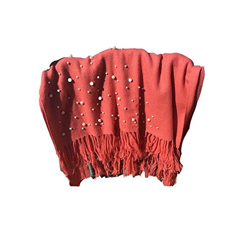 Soft Snuggly Pashmina Scarf Pearly Bead Accents (Coral) - Mother's Day Gift