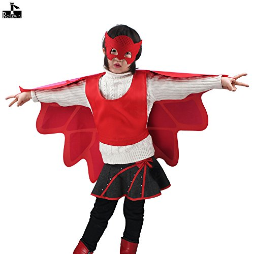 iROLEWIN Little Girl Wing Cape Mask – Dressing Up Costumes for Kids Party Gift-Red 41YaiY4hDGL