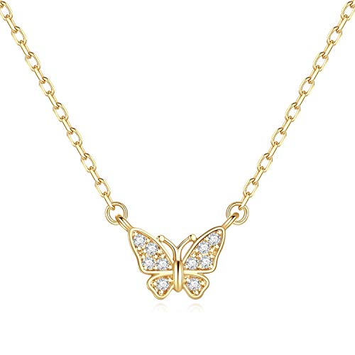 Butterfly Necklace Gifts for Girls - Gold Plated Sparkly Butterfly Pendant Necklace for Women Girls, Wedding Gifts Necklace Best Bridesmaid Gifts Bride Gifts Bridal Shower Gifts for Women Girls