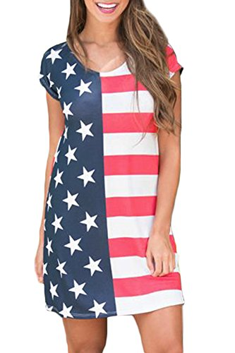 For G and PL Women's July 4th American Flag Swing Star Sundress Striped Loose Short Sleeve Tunic Dresses American Flag L