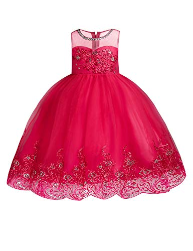 JOYMOM Lace Flower Girl Dress, Kids Illusion Neckline A Line 3D Flower Waist Tight Guipure Ribbon Bow Layered Zip Up Closure Bridesmaid Gown Wedding Dresses Watermelon Red 110 (3-4T)
