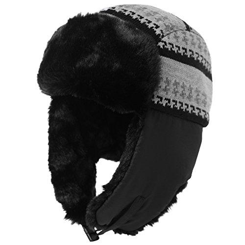- Mens Trapper Hat Aviator Earflap Hat Faux Fur Women Winter Hat Pilot Soviet Russian Ushanka Hats Black SIGGI