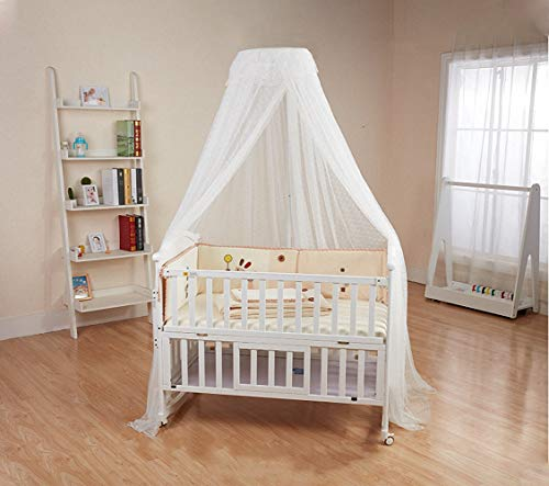 Baby Crib Canopy with Adjustable Clip-on Holder Baby Bed Mosquito Net Hanging Dome Curtain Netting See Through Mesh Bed Cover Net Stand Rod