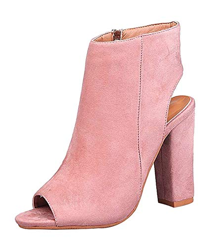 (MayBest Women's Zip up Cutout Chunky Stacked Heels Ankle Booties Fisherman Sandals Pink 5 B (M) US)