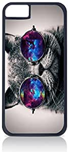 Black and White Kitten with Galaxy Shades- Case for the Apple Iphone 6 Plus Only-Hard Black Plastic Outer Shell