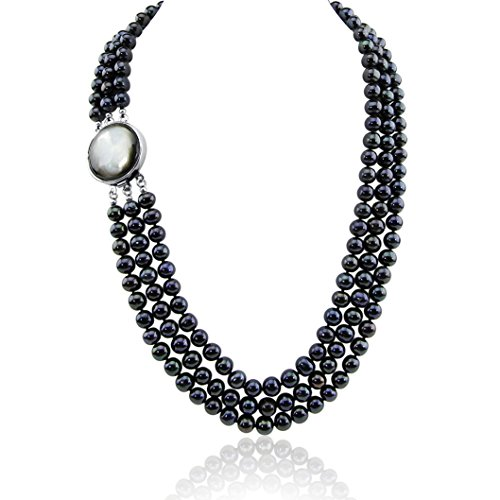 3-row Black Freshwater Cultured Pearl Necklace with Mother of Tahiti Pearl rhodium plated base metal Clasp(6.5-7.5mm), 17.5