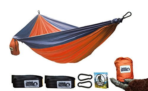 Sasquatch Camping Hammock Large – Lightweight Nylon Double Outdoor Hammock For Two – FREE Extra Long Adjustable Tree Straps Included – Ideal For Camping And Outdoors, Beach, Hiking, Summer – Orange