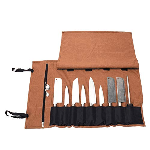QEES Chef Knife Roll(15 Slots), Heavy Duty Knife Roll Bag for Chefs, Portable Travel Cutlery Knife Accessories Tool Roll, Camp Chef Accessories, Husband Gifts (Knife Cutlery Roll)